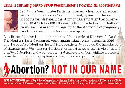 Abortion? 'Not in Our Name' Petition Postcard Campaign